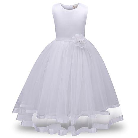 Lonshell – Vestido de fiesta estilo princesa para niña (Blanco, 8T)