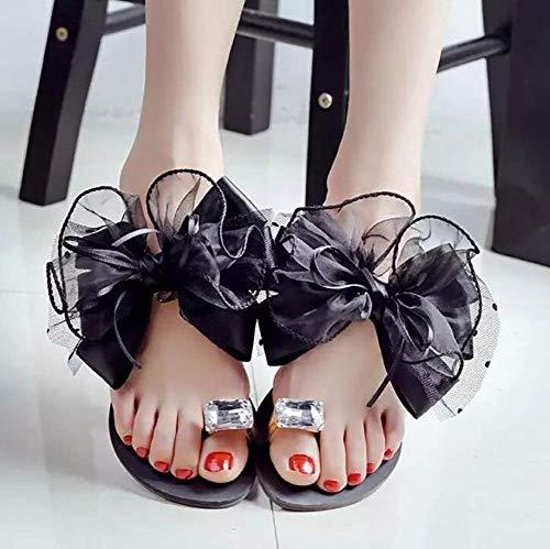 Diamante Zapatillas Cn36 Con Parte Para Verano De Eu36 Sandalias Lazo Negro Chancletas Plana Mujer Us6 Inferior Flores Moda Cristal Uk4 Gris 08wqBBH