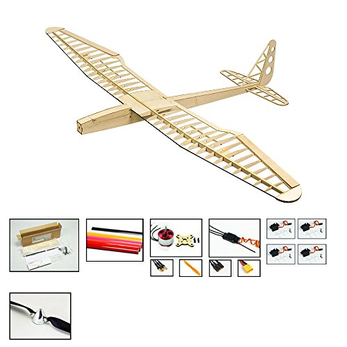 Balsa Wood Radio Remote Controlled Electric F16 Glider Sunbird Aeroplane Laser Cut Kit Wingspan 1600mm Un-Assembled for Adults;Need to Build for Flying Hobby Play (F1604C) ()