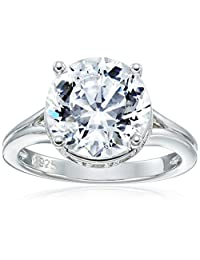 """Platinum Plated Sterling Silver """"100 Facets Collection"""" Solitaire Cubic Zirconia Ring (4.25 cttw)"""