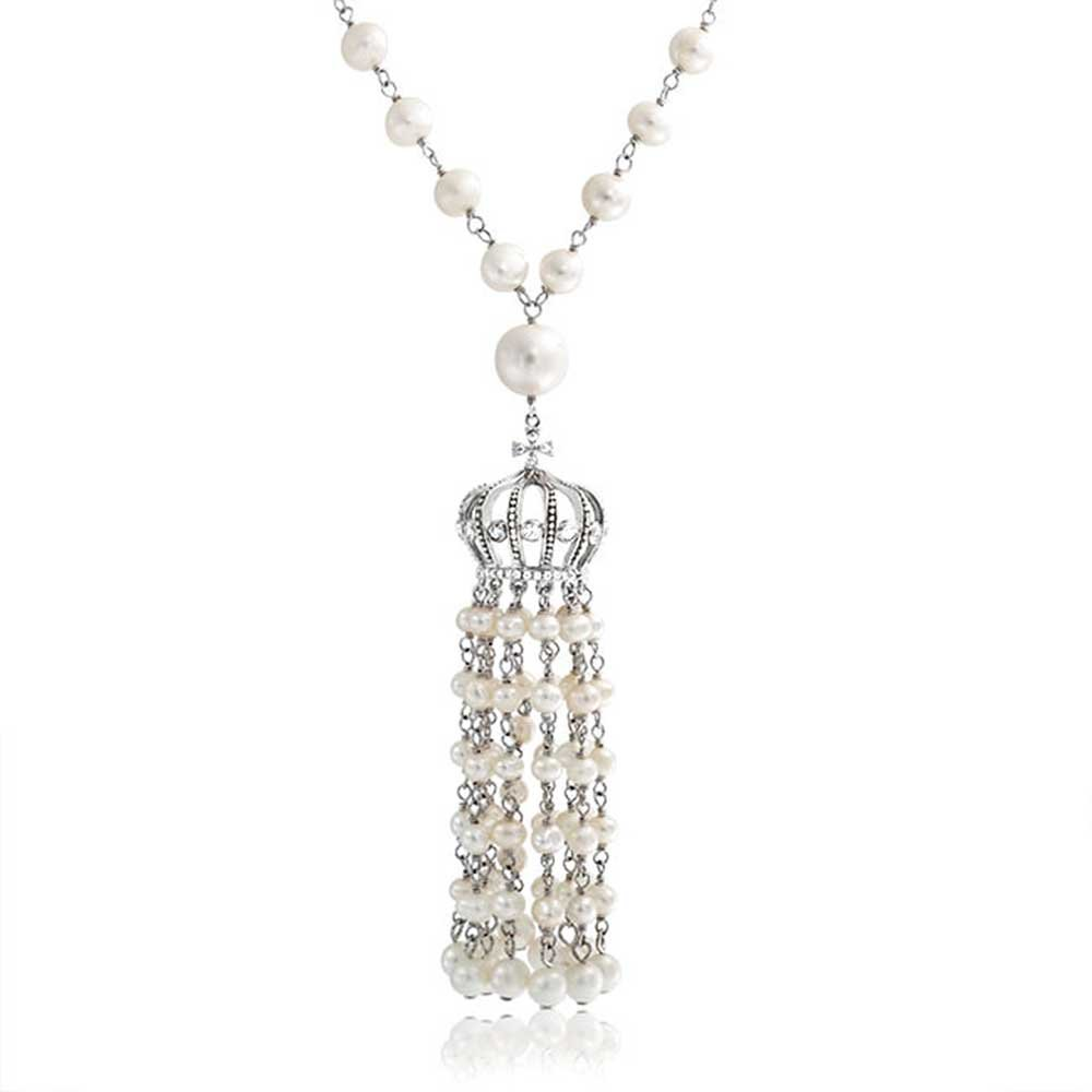 Crown Tassel White Freshwater Cultured Pearl Pendant Rhodium Plated Necklace 27 Inches