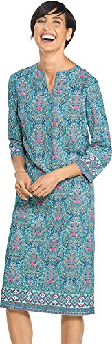 Coolibar UPF 50+ Women's Long Tunic Dress - Sun Protective (X-Large- Pink Resort Medallion) by Coolibar