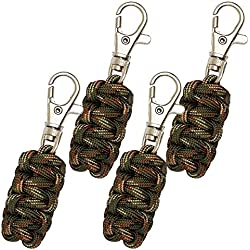 Paracord Zipper Pulls (Metal Hook Thin Enough To Attach To Almost Any Zipper) 4 Pack - Camo