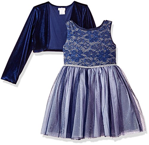 Youngland Girls' Little' 2 Piece Floral Lace Dress with Knit Cardigan, Blue/Silver, 6X