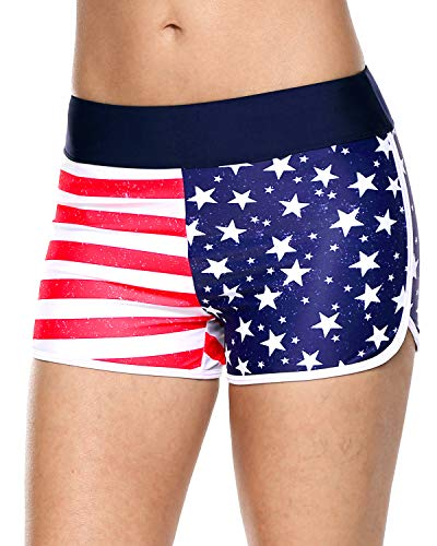 (American Flag Boardshorts for Women Star Stripes Swim Shorts Printed Boardshorts)