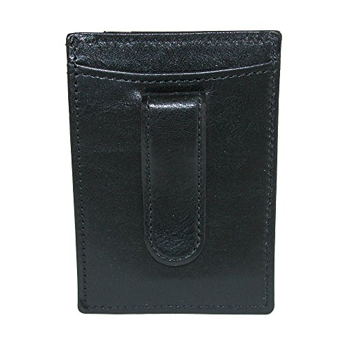 CrookhornDavis Men's Italian Vachetta Calfskin Money Clip and Card Case, Black
