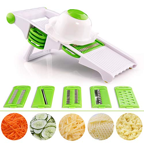 ndoline Slicer Dicer Professional 5-in-1 set, 5 Sharp Stainless Steel Blades with Safety Grip - Slicer & Grater & Cutter & 2mm / 3mm Julienne for Vegetable, Cheese, Onion, Food ()