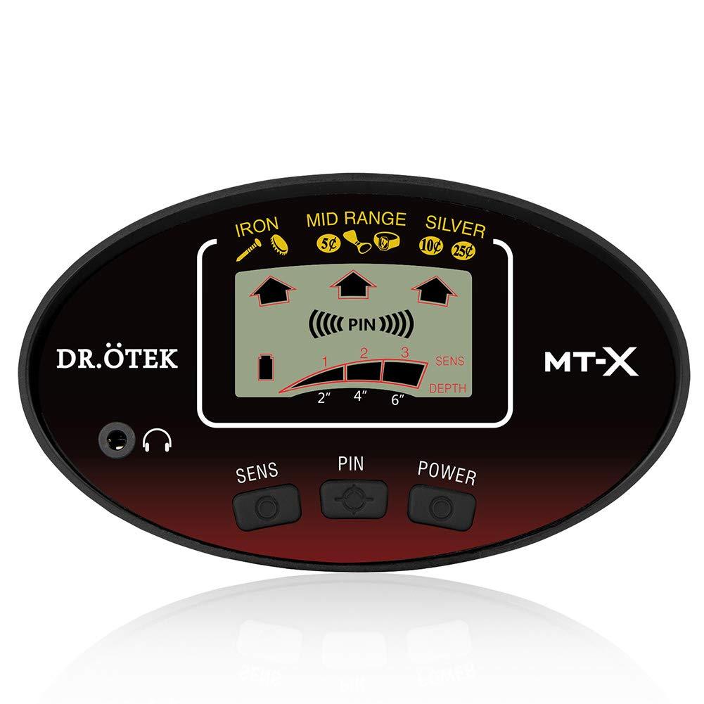 DR.ÖTEK Detector de Metales para Adultos con Pinpoint, Localización Precisa, Alta Sensibilidad y Bobina Impermeable, Incluye Bolsa y Pala Plegable