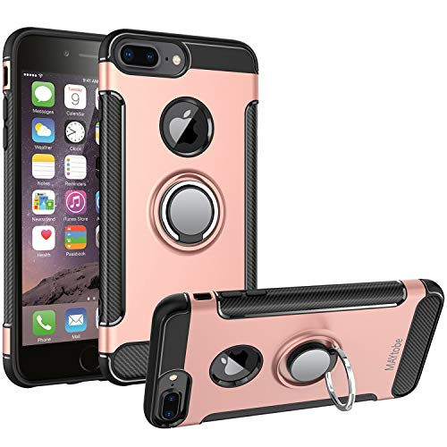 MAYtobe iPhone 8 Plus Case, iPhone 7 Plus Case - Ultra Defender TPU + PC Shock Protective Ring Case for Apple iPhone 8 Plus, iPhone 7 Plus Work with Magnetic Car Mount 360 Rotating - Rose Gold
