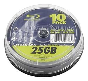 Platinum BD-R 6x - Discos de Blu-ray regrabables (10 unidades), plateado