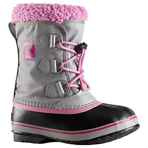 SOREL Girls' Yoot Pac Nylon Snow Boot, Chrome Grey, Orchid, 3 M US Big Kid (Yoot Pac Boots Winter)