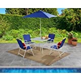 Mainstays Albany Lane 6-Piece Folding Seating Set (Blue) For Sale