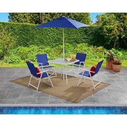 073156de9b38 Amazon.com: Mainstays Albany Lane 6-Piece Folding Seating Set (Blue):  Garden & Outdoor