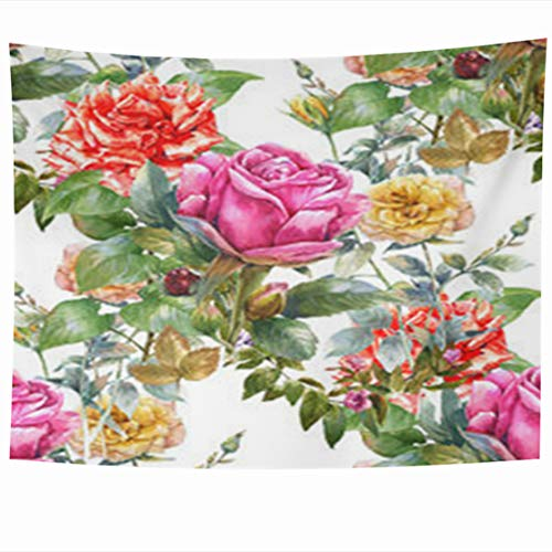 InnoDIY Tapestry Wall Hanging 80 x 60 Inches Watercolor Painting Red Rose Arts Nature Art Drawing Orchid Leaf Flowers White Green Floral Palm Decor Tapestries Art for Home Bedroom Living ()