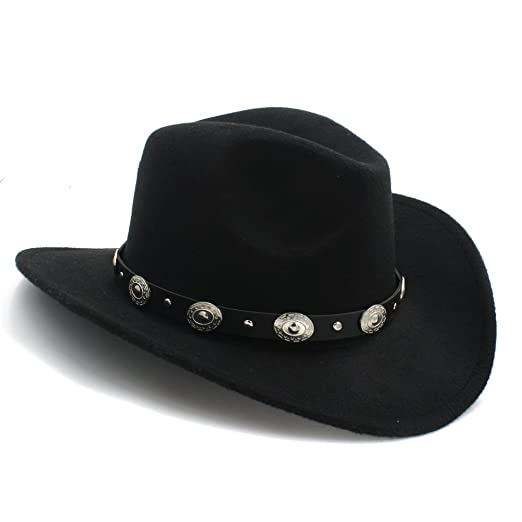 16dfd1e0fce485 Vintage Womem Men Western Cowboy Hat With Wide Brim Punk Belt Cowgirl Jazz  Cap With Leather