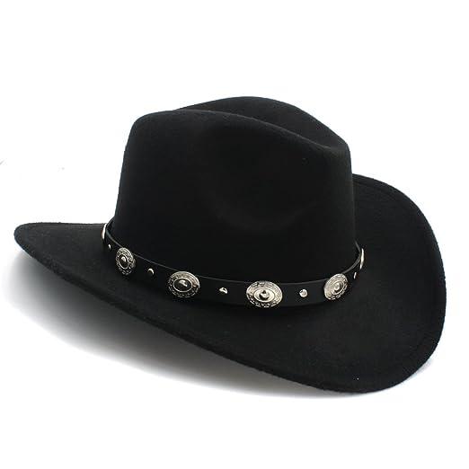 89d66106 Vintage Womem Men Western Cowboy Hat With Wide Brim Punk Belt Cowgirl Jazz  Cap With Leather