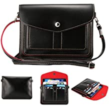 Universal Fashion Soft PU Leather Cell Phone Bag Purse Case Cross Body Wallet Pouch with Shoulder Strap & ID Cards Holders for Carrying iPhone6s/6s plus/6/6 Plus/5s and Samsung Series Phones(Black)
