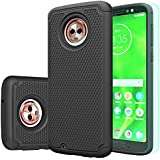 Moto G6 Case, Moto G(6th Generation) Case with HD Screen Protector Huness Durable Armor and Resilient Shock Absorption Case Cover for Motorola Moto G6 Phone (Black)