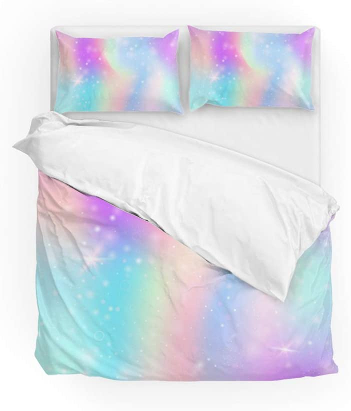 LifeCustomize Starry Galaxy Rainbow Duvet Cover Bedding 3 Piece Set Kids Quilt Comforter Cover with Pillowcases Full Size