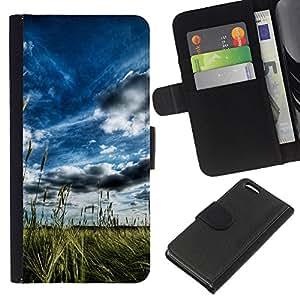 LECELL--Cuero de la tarjeta la carpeta del tirón Smartphone Slots Protección Holder For Apple Iphone 5C -- Pintoresco campo del verano --