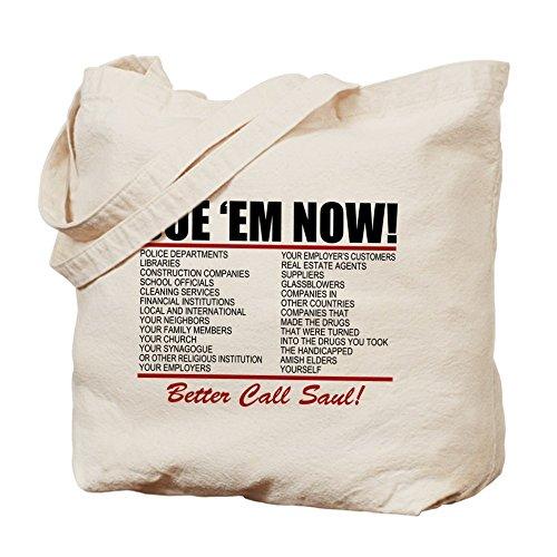 Cafepress–sue EM now Saul Goodman–Borsa di tela naturale, tessuto in iuta