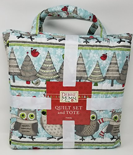 Debbie Mumm Collection - Debbie Mumm Festive Winter Owls 2pc Twin Size Quilt Set + Fabric Tote Bag
