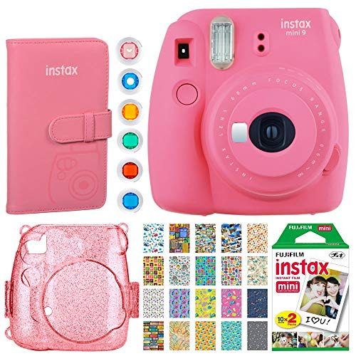 Fujifilm Instax Mini 9 Instant Camera (Flamingo Pink) + Fujifilm Instax Mini Film (20 Exposures) + Fujifilm Wallet Album + Pink Glitter Hard Case + 6 Colored Filters + 20 Sticker Frames Travel Package ()