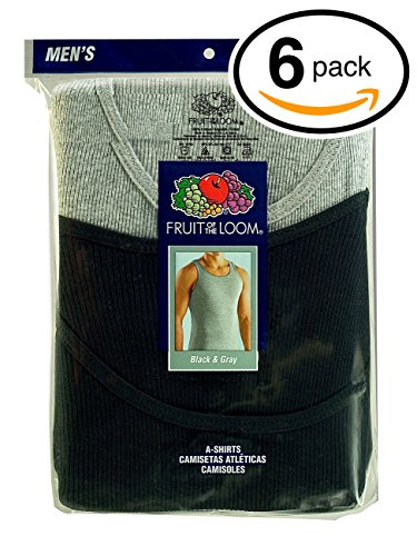 Fruit of the Loom Men's 6Pack Black & Grey A Shirts Tank Tops Undershirts 3XL (3xl Black Mens Undershirts)