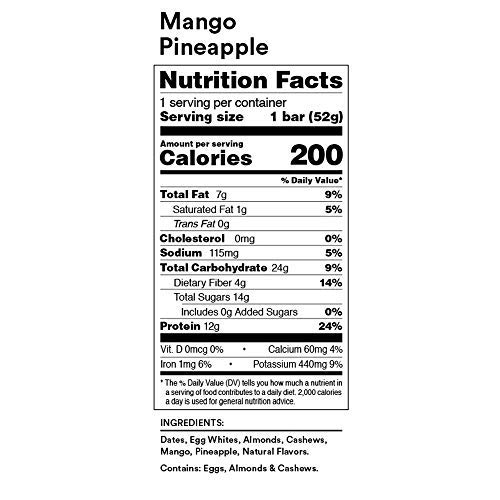 RXBAR Real Food Protein Bar, Mango Pineapple, Gluten Free, 1.83oz Bars, 24 Count by RXBAR (Image #7)