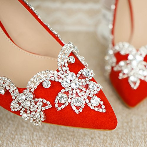 9 Heel 9Cm Toast Prom 8 Shoe High Shoes Water Crystal Heel Drill Red Wedding Bride VIVIOO Fine Tuxedo Sandals Shoes Heel Female Single BWH1R1zqT