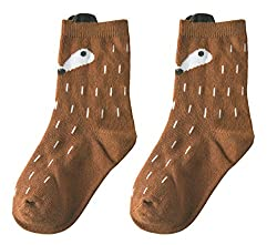 Beauty Nymph Cartoon Socks Cotton Cute 3D Fox Crew Socks for Girls (S(1-3Years), Pack of 2 Grey)