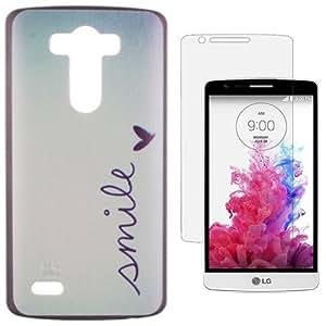 Semoss 2 en 1 Accessories Set Smile Funda TPU Mariposa Carcasa Para LG G3 Silicona Gel Corazon Case Cover Protective Sonrisa Shell Skin con Protector Pantalla