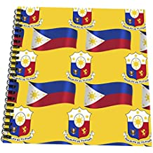 """3dRose db_114187_2 Flag and Coat of Arms of the Republic of Philippines on a saffron background-Memory Book, 12 by 12"""""""