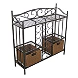 208 Fryar Design Wine Storage Rack with Rattan Style Storage Baskets