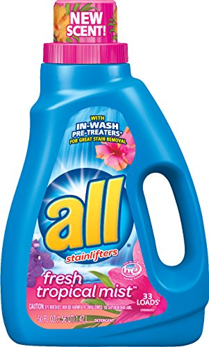 all Liquid Laundry Detergent, Tropical Mist, 50 Fluid Ounces, 33 Loads