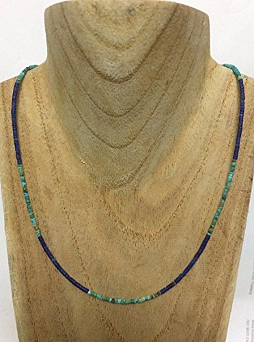 - Afghan Turquoise seed beads Necklace Afghan Lapis lazuli seed beads Necklace 925 Sterling silver Clasp,Custom size 15