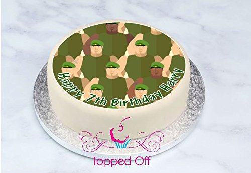 Excellent Army Soldiers Military 19 Cm Round Personalised Fondant Icing Cake Personalised Birthday Cards Paralily Jamesorg