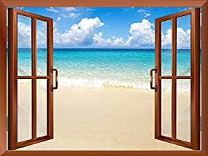 """Wall26 - Beach and Tropical Sea Removable Wall Sticker / Wall Mural - 36""""x48"""""""