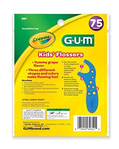 GUM Crayola Kids' Flossers (75 Flossers) Grape by GUM (Image #1)