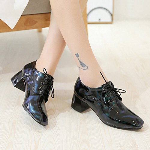 Women's Oxfords Green Up Square Mid Lace Leather Heel Carolbar Toe Shoes Patent 7qzddfx