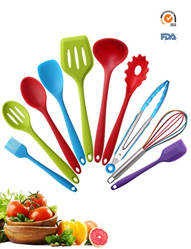 Silicone Kitchen Utensils Set 10 Pieces | Colorful Cooking Utensil | Soft Nonstick Kit with Solid Core | for Home Cooking, BBQ, Baking, Serving, Outdoor, Picnic, Camping, RV, Dorm, Lodge, Dorm, Gadget