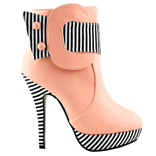 Show Story Baby Pink Striped Button Zipper High Heel Stiletto Platform Ankle Boots,LF30303BP39,8US,Baby Pink