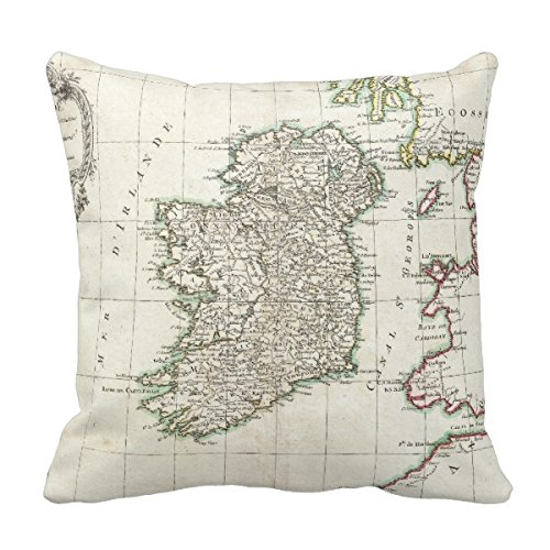 Goodaily Pillowcase Vintage Map of Ireland (1771) Pillow Cover