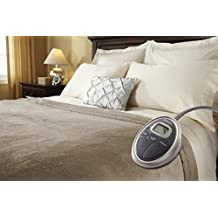 Sunbeam Velvet Plush Heated King Blanket with 20 Heat Settings, Dual Digital Controllers, Auto-off and 5 Yr Warranty - Beige