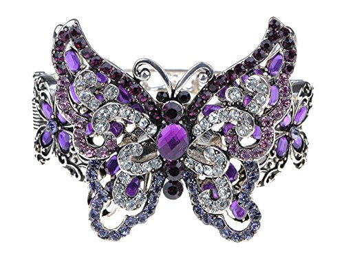 Alilang Silvery Tone Amethyst Clear Crystal Colored Rhinestones Butterfly Cuff Bracelet