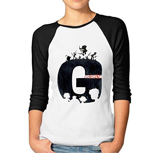 Gorillaz Plastic Beach The Fall 3/4 Sleeve T-shirts Women T-shirts