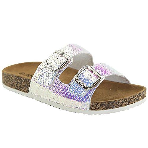 (Aun Women Unicorn Mermaid Double Straps Open Toe Cork Sandals Slides, White 8.5 B(M) US)