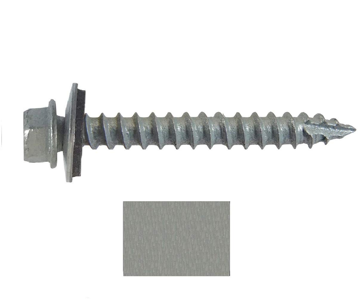 #14 Metal Roofing Screws: (250) Screws x 2'' Galvanized Hex Head Sheet Metal Roof Screw. Self Starting Metal to Wood Sheet Metal Screws with EPDM Washer. for Corrugated Roofing