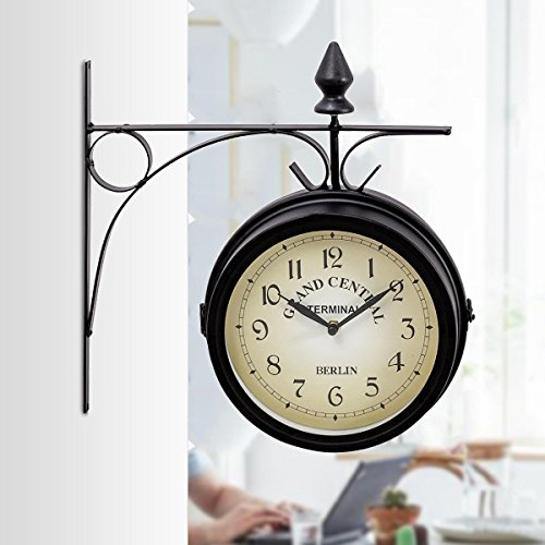 Custpromo Vintage Antique Double Side Wall Mounted Clock Iron Metal Silent Quiet Grand Central Station Double Faced Wall Clock (Clock Central Station)