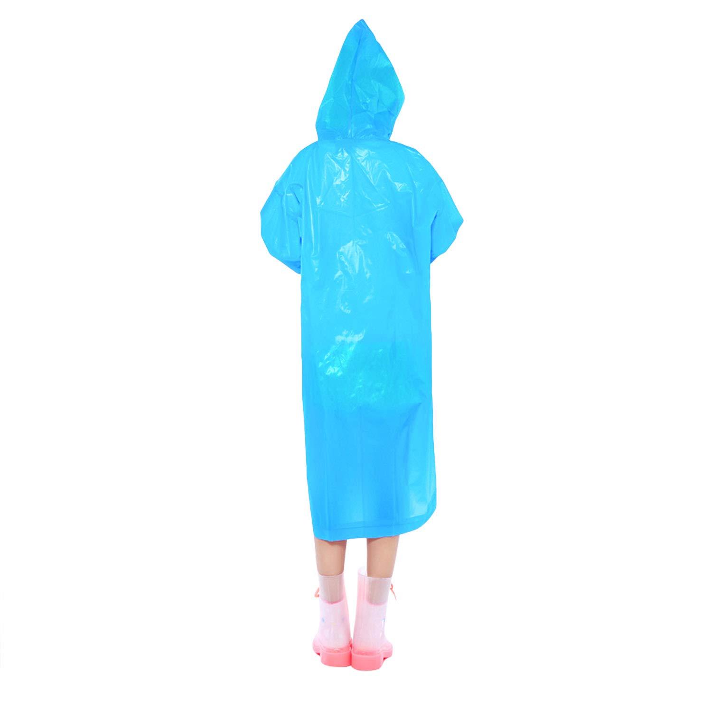 KUYOU Rain Coat Reusable Rain Ponchos for Kids 2 Pack Emergency Rain Coat with Hood for Hiking Travel Camping